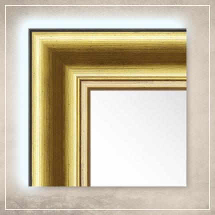 LED taustavalgusega peegel Carol kuldse/pruuni raamiga