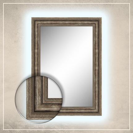 LED taustavalgusega peegel Clara hõbedase/pronksi raamiga