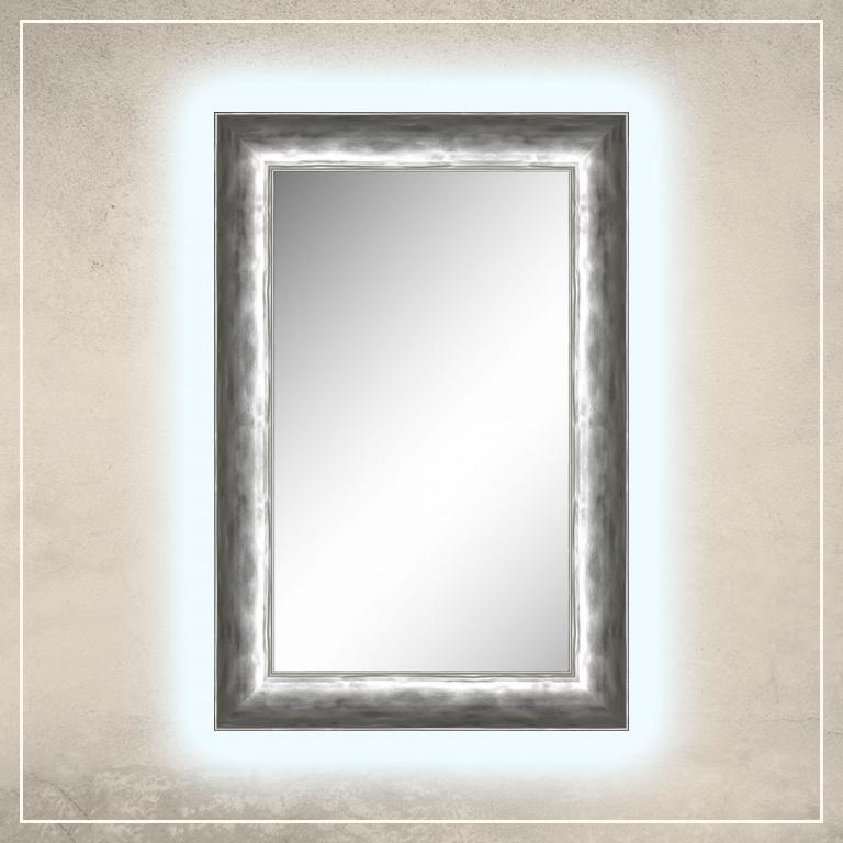 LED taustavalgusega peegel Canva hõbedase raamiga