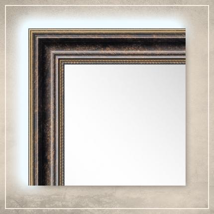 LED taustavalgusega peegel Lily tumepruuni/kuldse raamiga