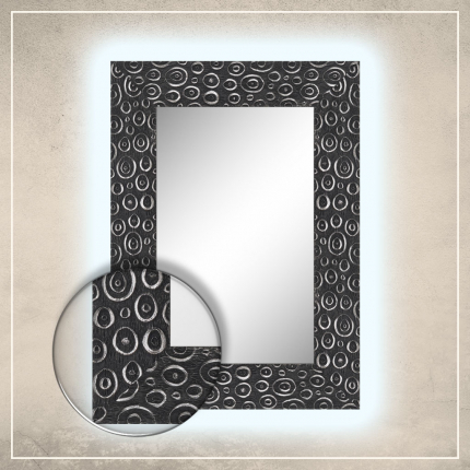 LED taustavalgusega peegel Laila musta/hõbedase raamiga