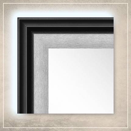 LED taustavalgusega peegel Karla musta/hõbedase raamiga
