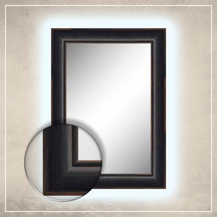 LED taustavalgusega peegel Keira musta raamiga