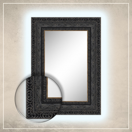 LED taustavalgusega peegel Julius musta raamiga