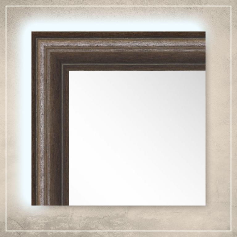 LED taustavalgusega peegel Leon pruuni raamiga