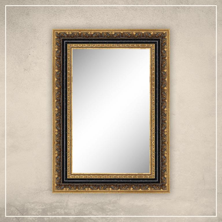 Peegel Rooma kuldse/musta raamiga