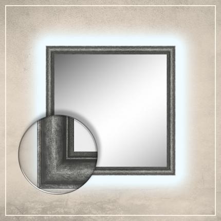 LED taustavalgusega peegel Susan hõbedase raamiga