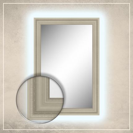LED taustavalgusega peegel Clara kreemjas valge raamiga