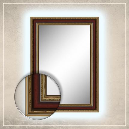 LED taustavalgusega peegel Lucas kuldse/punase raamiga