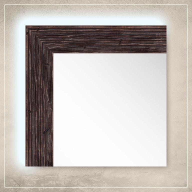 LED taustavalgusega peegel Nora pruuni raamiga