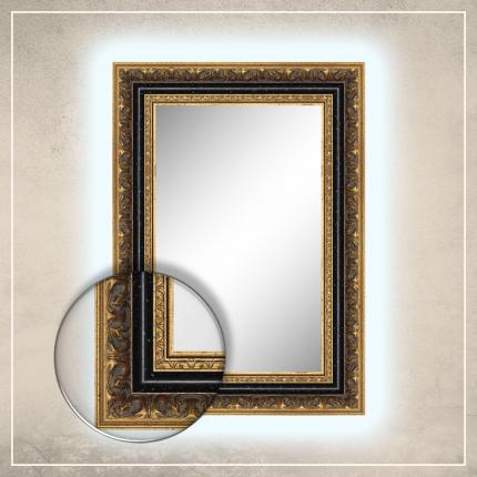 LED taustavalgusega peegel Rooma kuldse/musta raamiga