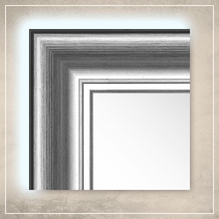 LED taustavalgusega peegel Carol hõbedase/musta raamiga