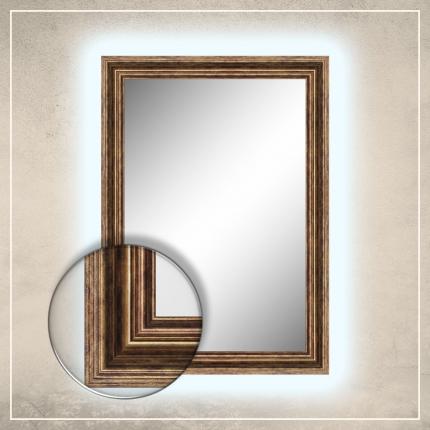 LED taustavalgusega peegel Elena tumekuldse raamiga