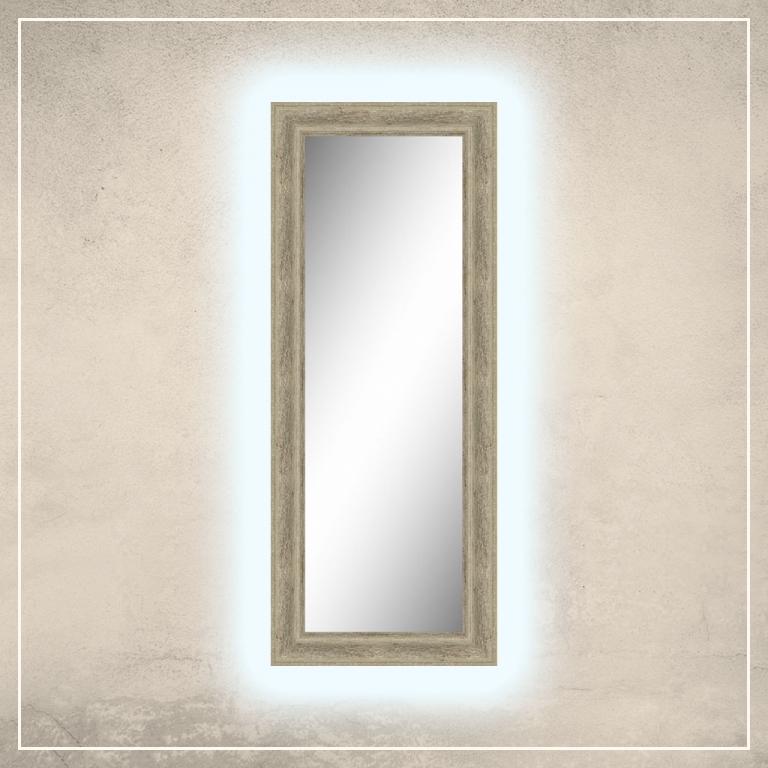 LED taustavalgusega peegel Billy elevandiluuvalge raamiga