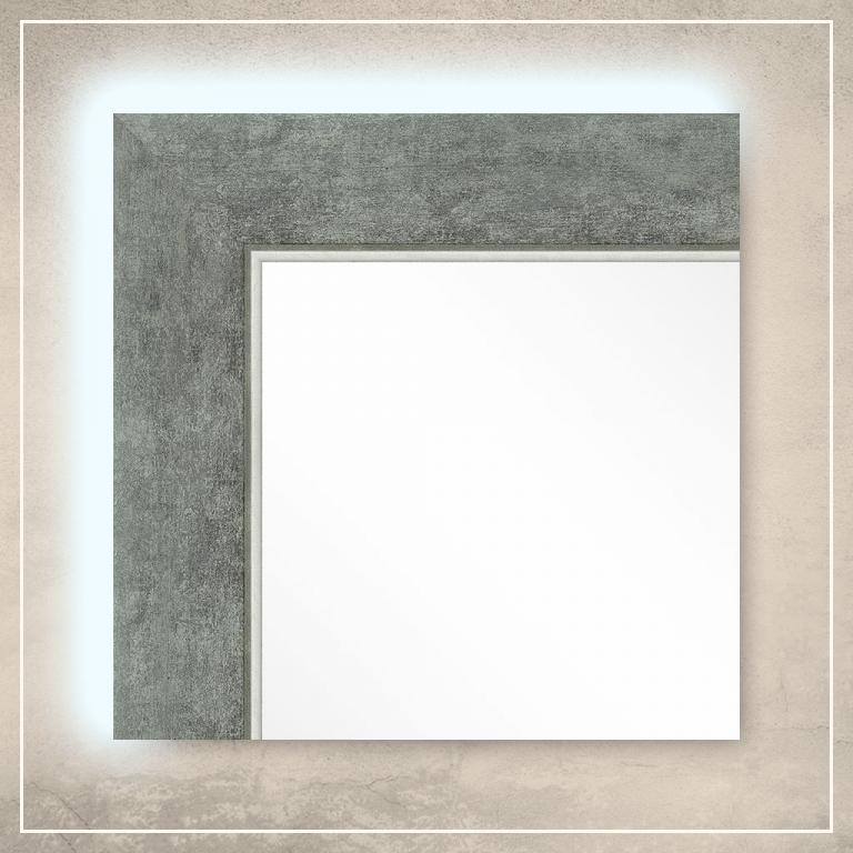 LED taustavalgusega peegel Liam hõbedase raamiga