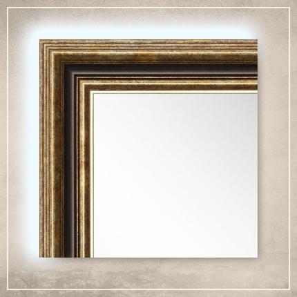 LED taustavalgusega peegel Nevin kuldse/pruuni raamiga