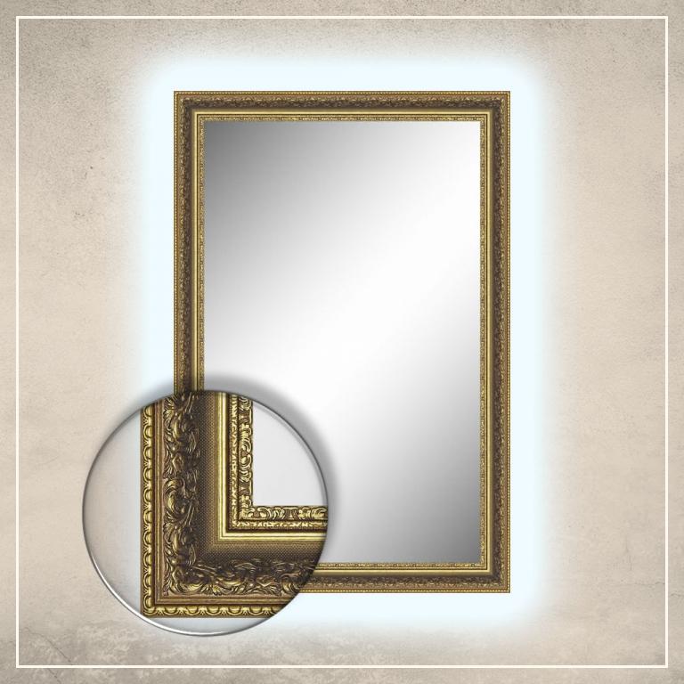 LED taustavalgusega peegel Amara kuldse raamiga