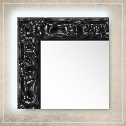 LED taustavalgusega peegel Elora musta raamiga