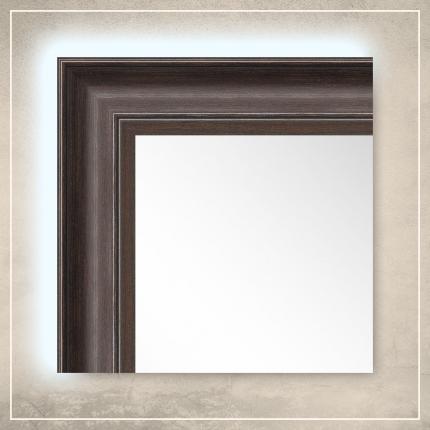 LED taustavalgusega peegel Toni pruuni raamiga