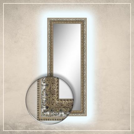 LED taustavalgusega peegel Greg hõbedase raamiga