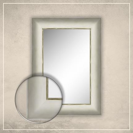 Peegel Canva kreemjas valge raamiga