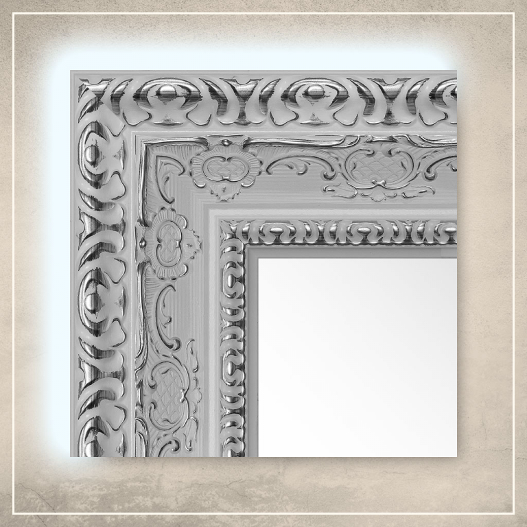LED taustavalgusega peegel Julius valge raamiga