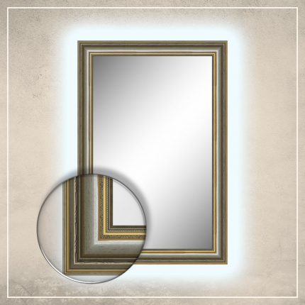 LED taustavalgusega peegel Lucas hõbedase raamiga