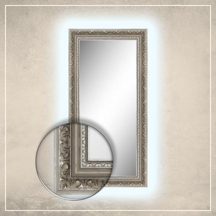 LED taustavalgusega peegel Rooma hõbedase raamiga