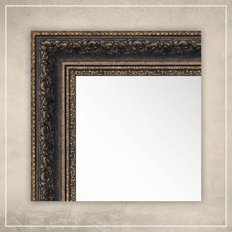 Peegel Amara musta/kuldse raamiga