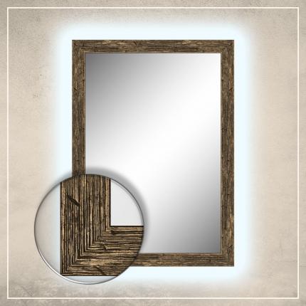 LED taustavalgusega peegel Nora musta/kuldse raamiga