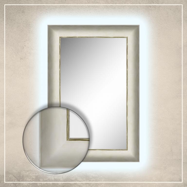 LED taustavalgusega peegel Canva kreemjas valge raamiga