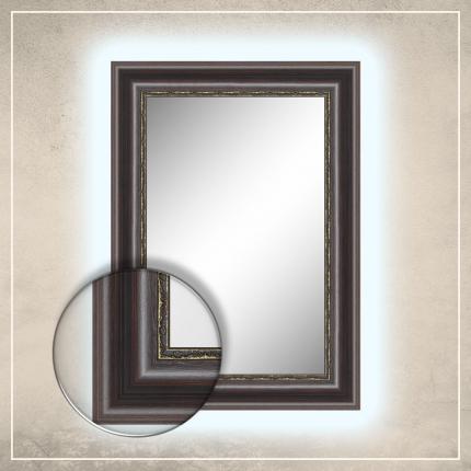LED taustavalgusega peegel Foster tumepruuni raamiga