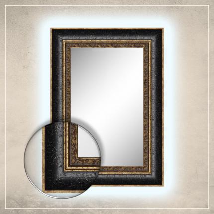 LED taustavalgusega peegel Cleo kuldse/musta raamiga