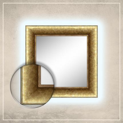 LED taustavalgusega peegel River kuldse raamiga