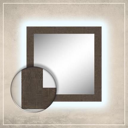 LED taustavalgusega peegel Walker pruuni raamiga