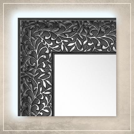 LED taustavalgusega peegel Jenny musta/hõbedase raamiga