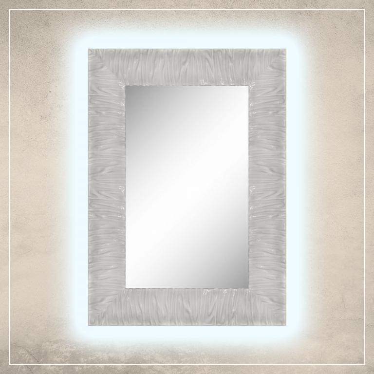 LED taustavalgusega peegel Eva valge raamiga