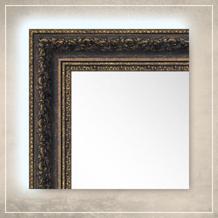 LED taustavalgusega peegel Amara musta/kuldse raamiga