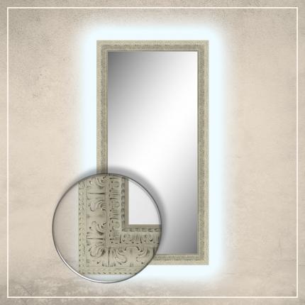 LED taustavalgusega peegel Greg valge raamiga