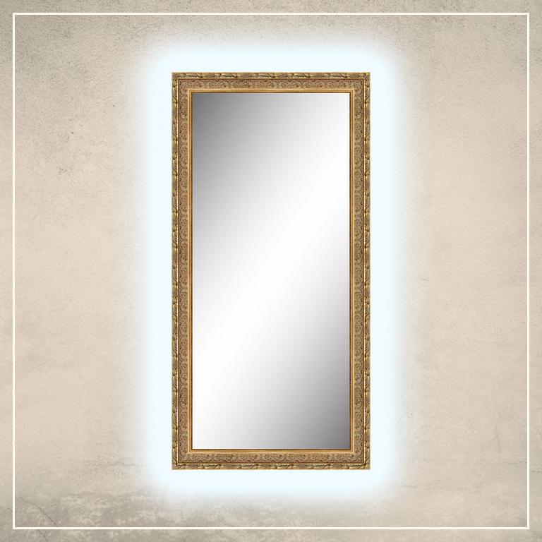 LED taustavalgusega peegel Athena kuldse raamiga