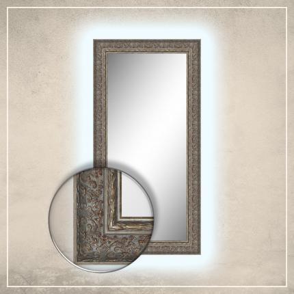 LED taustavalgusega peegel Alita halli/hõbedase raamiga