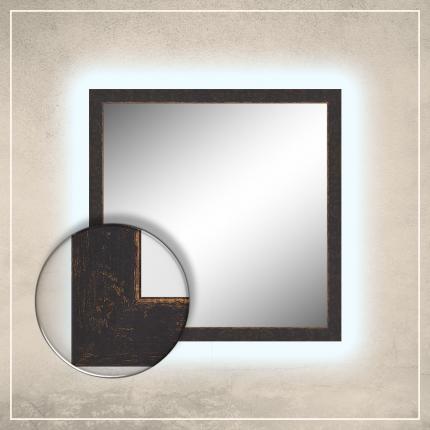 LED taustavalgusega peegel Stella musta/kuldse raamiga