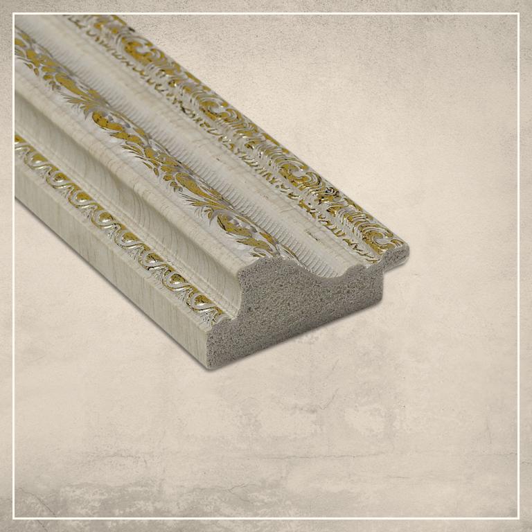 Peegel Amara valge/kuldse raamiga