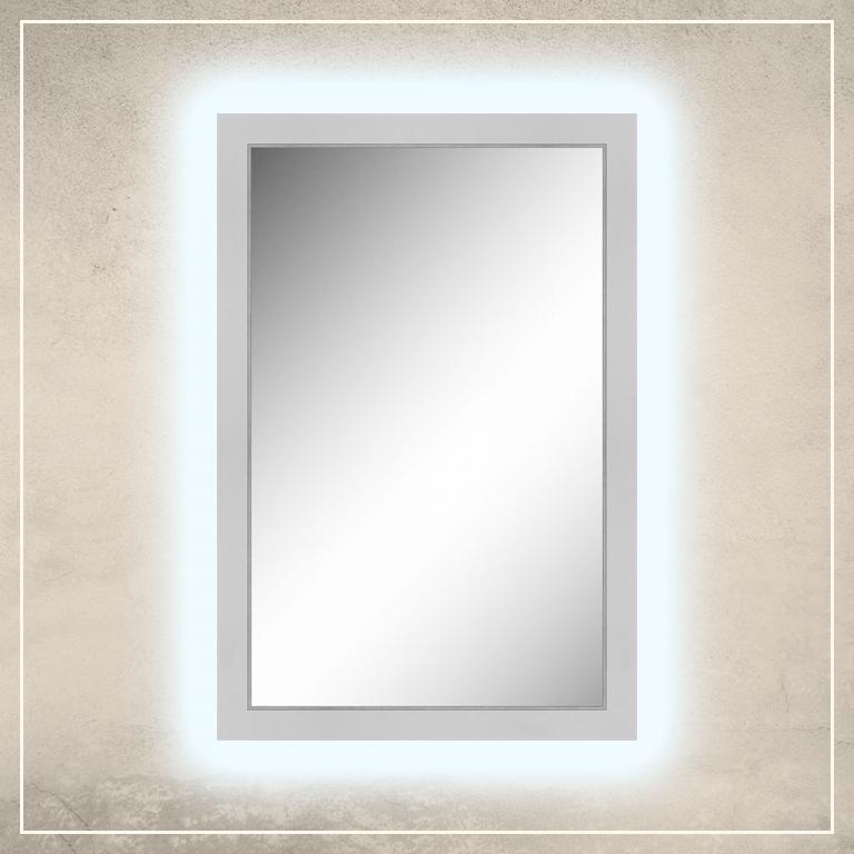 LED taustavalgusega peegel Liam valge raamiga