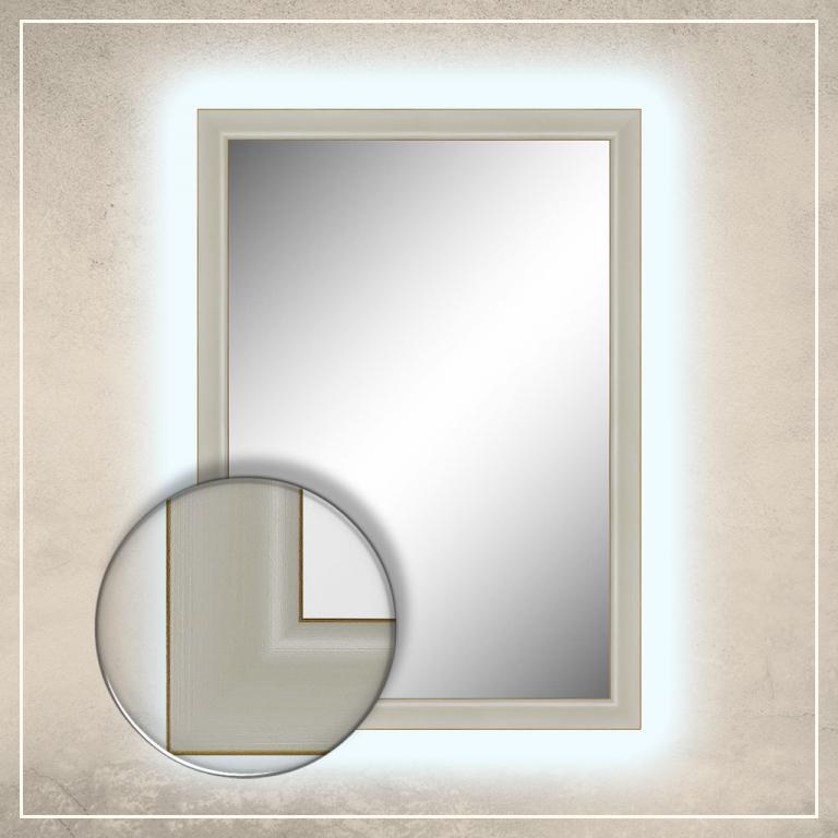 LED taustavalgusega peegel Aria valge raamiga