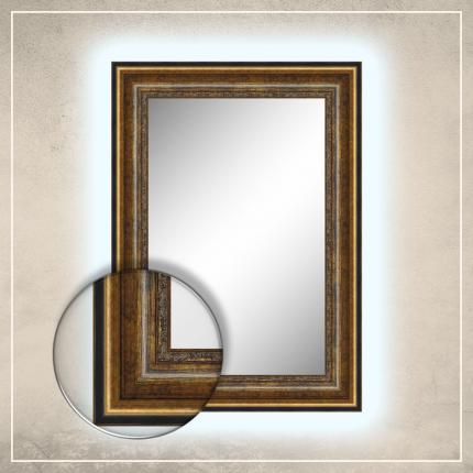 LED taustavalgusega peegel Foster musta/kuldse raamiga