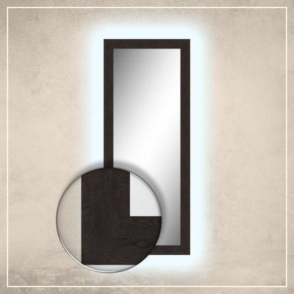 LED taustavalgusega peegel Walker tumepruuni raamiga