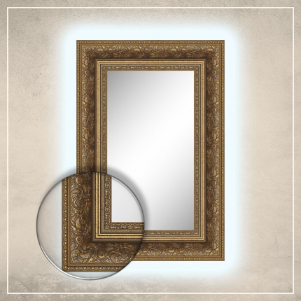LED taustavalgusega peegel Auden kuldse raamiga