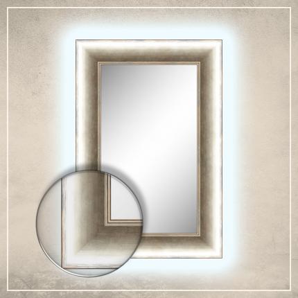LED taustavalgusega peegel River hõbedase raamiga