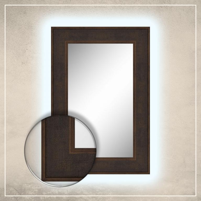 LED taustavalgusega peegel Diego tumepruuni raamiga